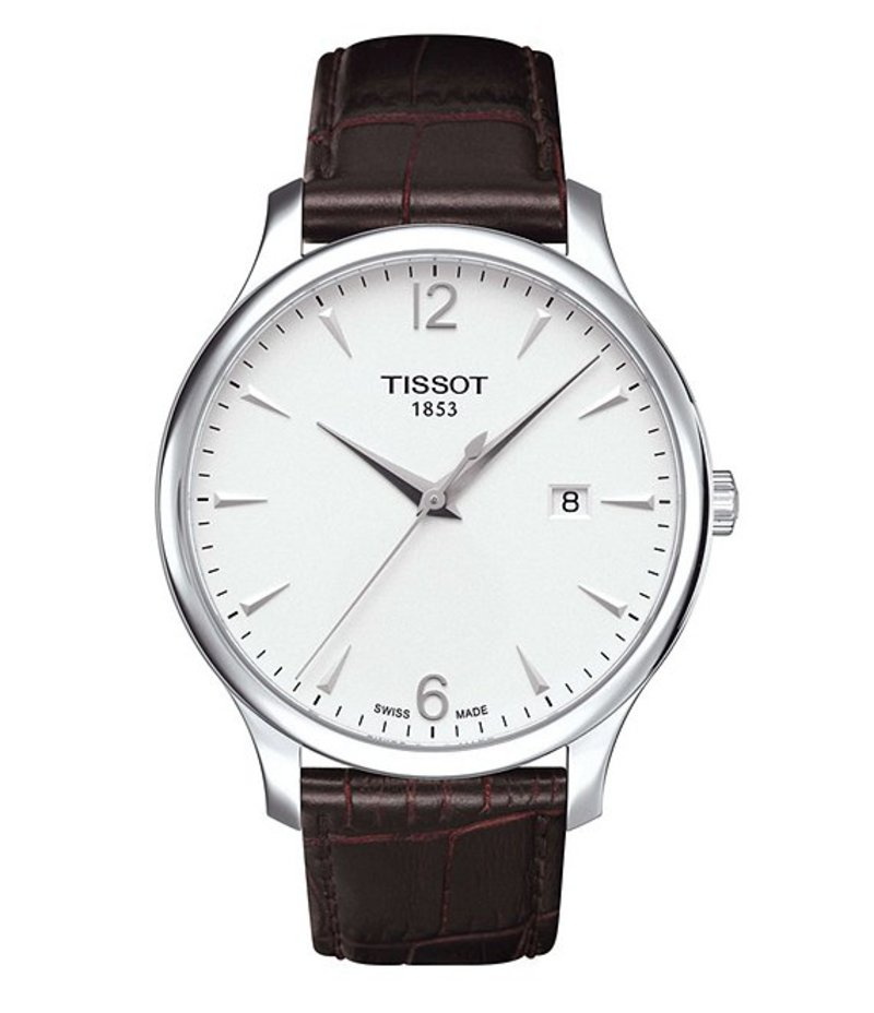 ティソット メンズ 腕時計 アクセサリー Tradition Analog & Date Leather-Strap Watch BROWN