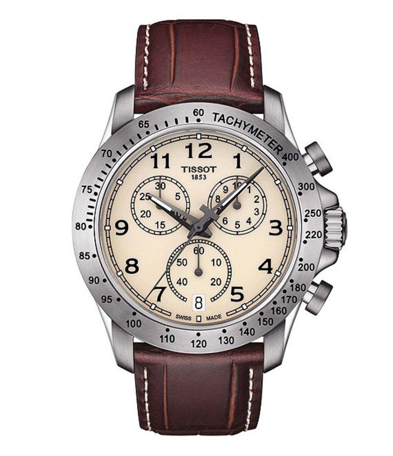ティソット メンズ 腕時計 アクセサリー V8 Chronograph & Date Leather-Strap Watch Brown/Ivory