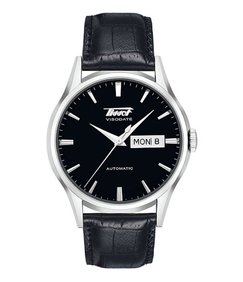 ティソット メンズ 腕時計 アクセサリー Heritage Visodate Automatic Black Leather Strap Watch Black