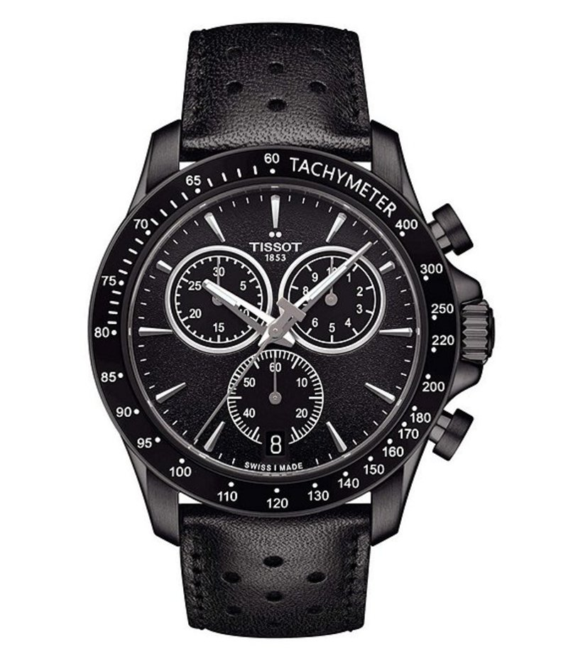ティソット メンズ 腕時計 アクセサリー T-Sport V8 Chronograph & Date Leather-Strap Watch Black