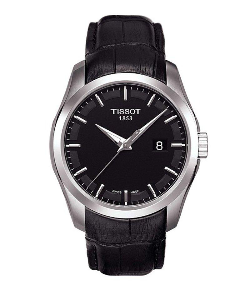ティソット メンズ 腕時計 アクセサリー T-Classic Couturier Analog & Date Leather-Strap Watch Black