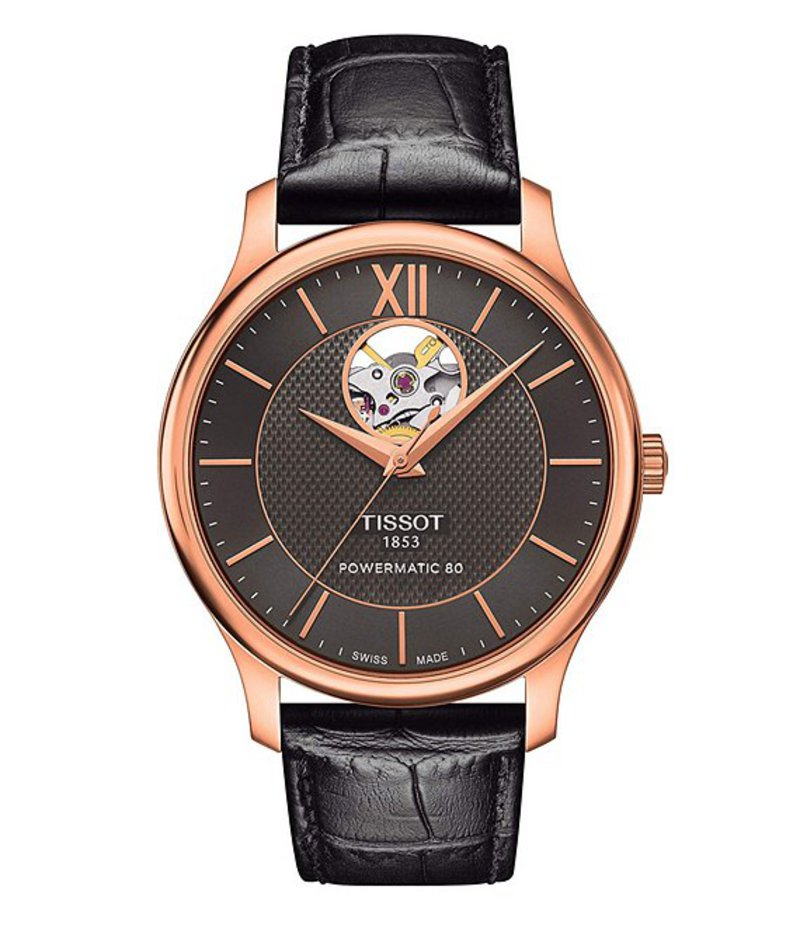 ティソット メンズ 腕時計 アクセサリー T-Classic Tradition Powermatic 80 Open Heart Watch Rose Gold