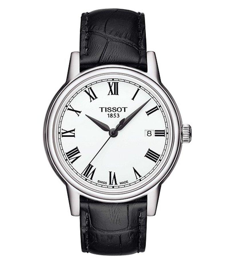ティソット メンズ 腕時計 アクセサリー T-Classic Carson Analog & Date Black Croco Leather Strap Watch Black