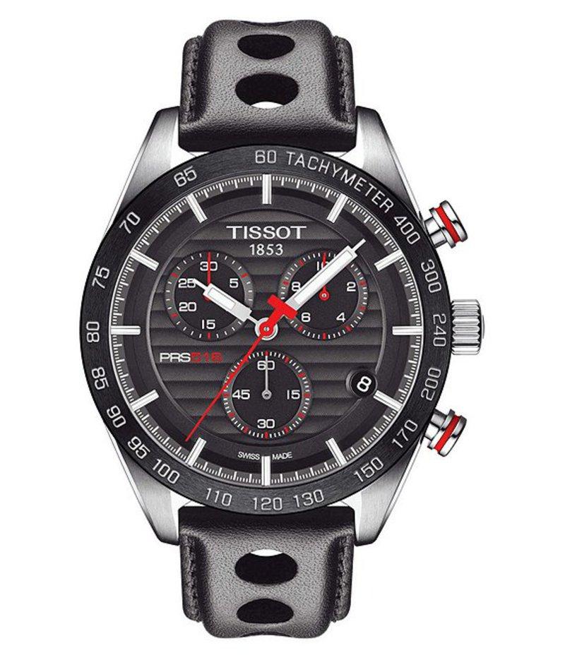 ティソット メンズ 腕時計 アクセサリー PRS 516 Chronograph Black Leather Strap Watch Black