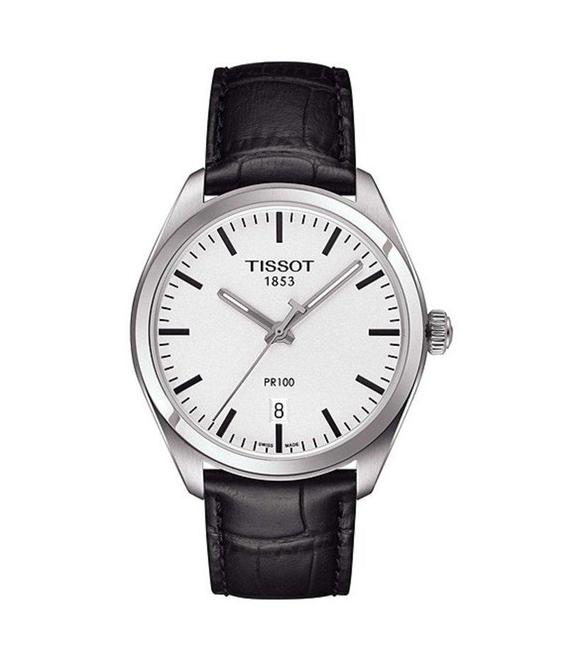 ティソット メンズ 腕時計 アクセサリー T-Classic PR 100 Analog & Date Leather-Strap Watch Black