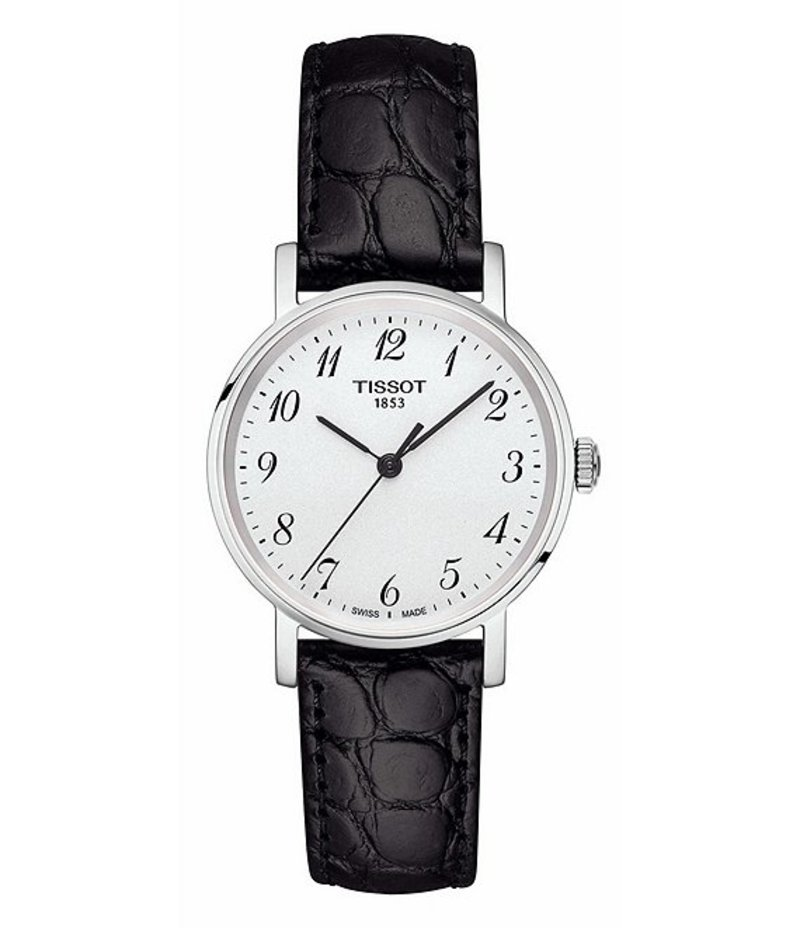 ティソット レディース 腕時計 アクセサリー T-Classic Everytime Analog Croco Leather-Strap Watch Black