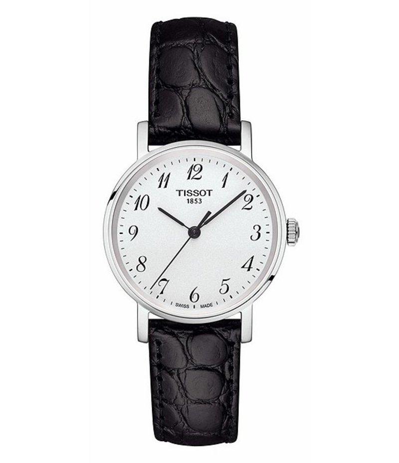 ティソット レディース 腕時計 アクセサリー T-Classic Everytime Analog Croco Leather-Strap Watch Black