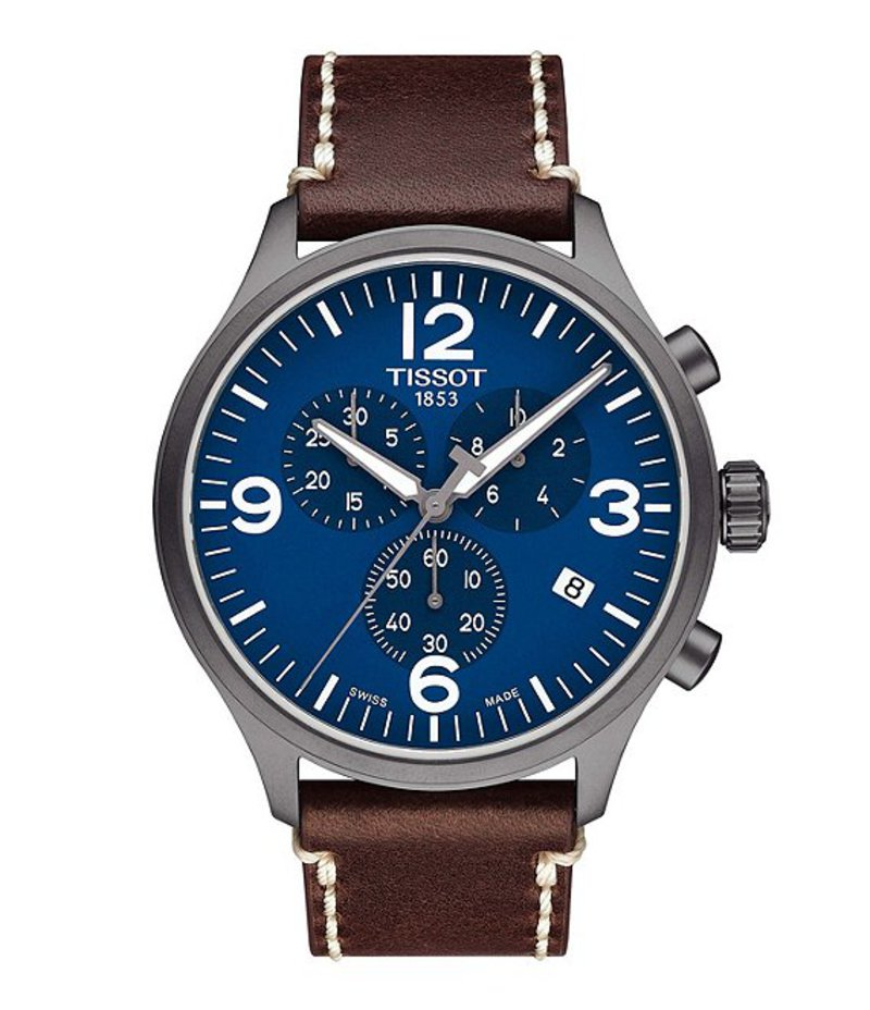 ティソット メンズ 腕時計 アクセサリー T-Sport Blue Chrono XL Chronograph & Date Leather-Strap Watch Brown