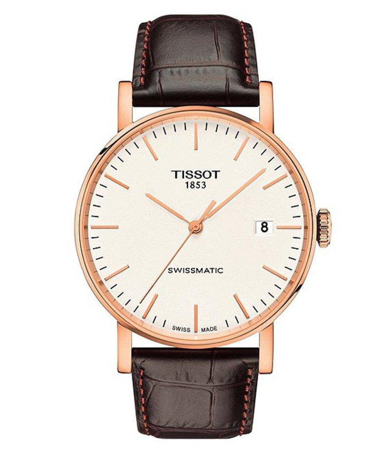 ティソット メンズ 腕時計 アクセサリー Everytime Swissmatic Leather-Strap Watch Brown