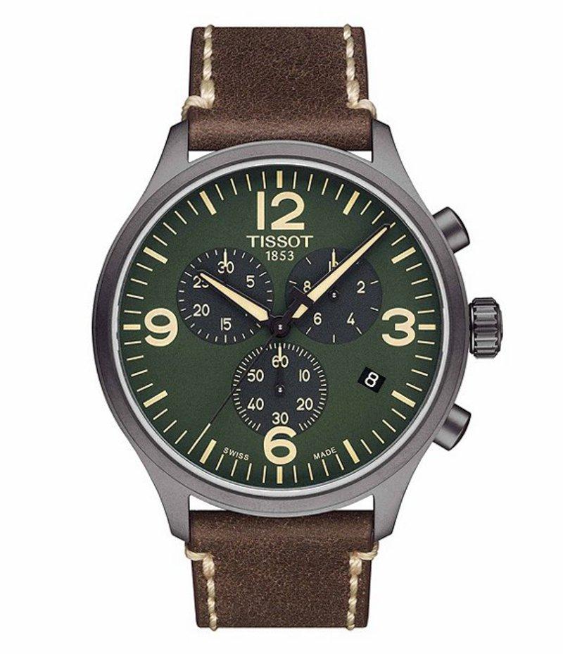 ティソット メンズ 腕時計 アクセサリー T-Sport Green Chrono XL Chronograph & Date Leather-Strap Watch Brown