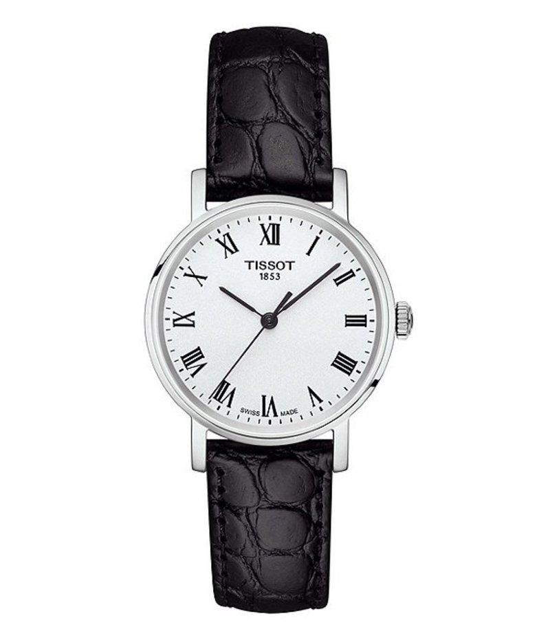 ティソット レディース 腕時計 アクセサリー Everytime Black Leather Strap Watch Black