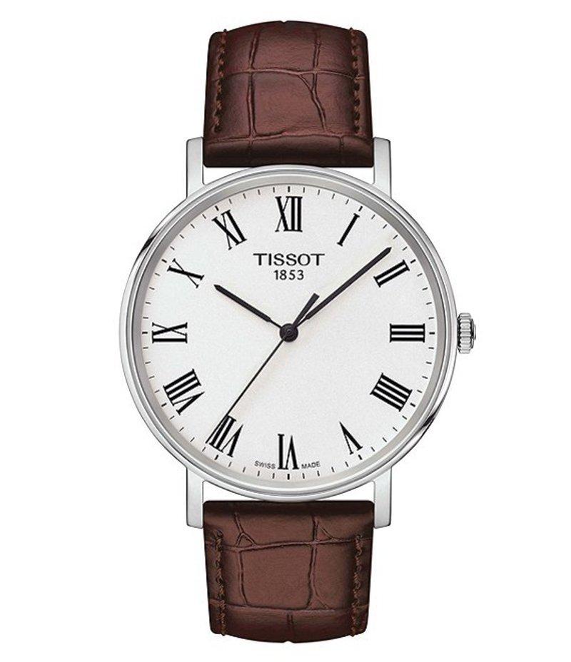 ティソット メンズ 腕時計 アクセサリー Everytime Men's Brown Leather Strap Watch Brown