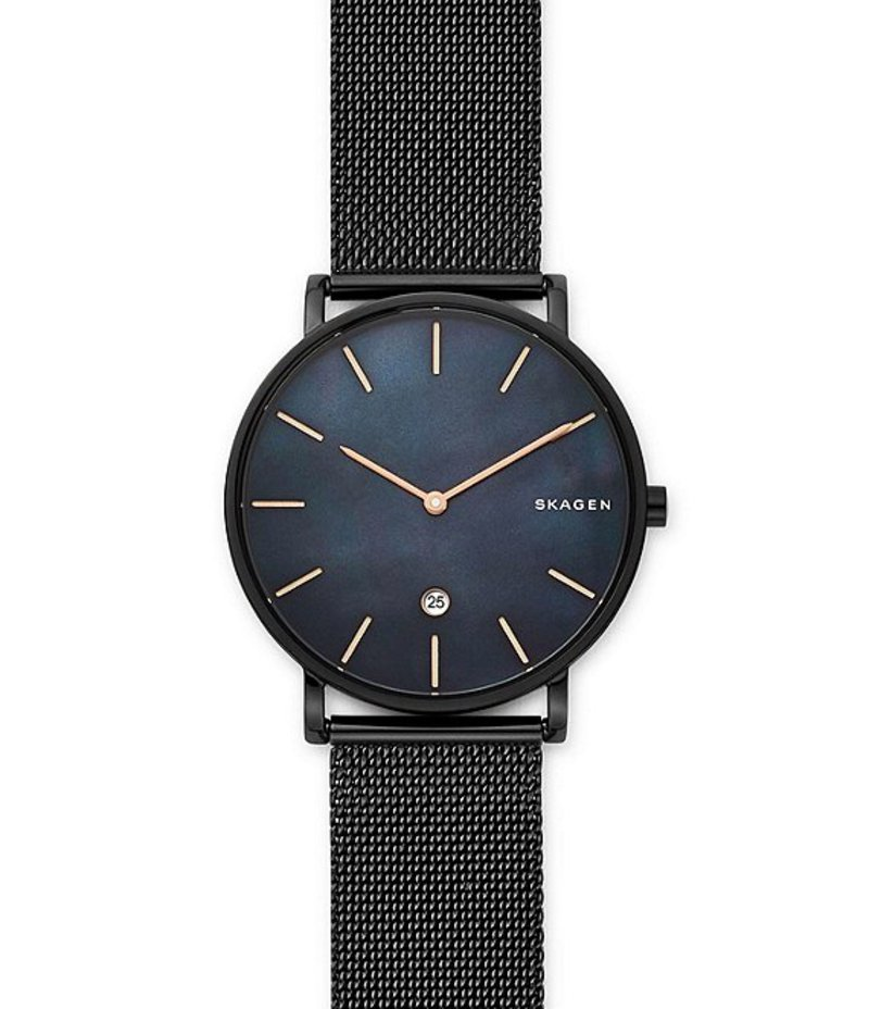 スカーゲン メンズ 腕時計 アクセサリー Hagen Mother-of-Pearl Black Steel-Mesh Watch Black