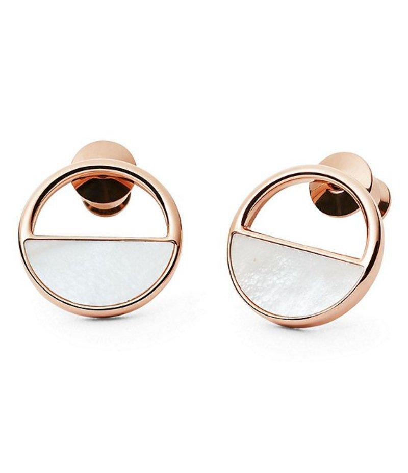 スカーゲン レディース ピアス・イヤリング アクセサリー Agnethe Rose Gold & Mother of Pearl Stud Earrings Rose Gold/Pearl