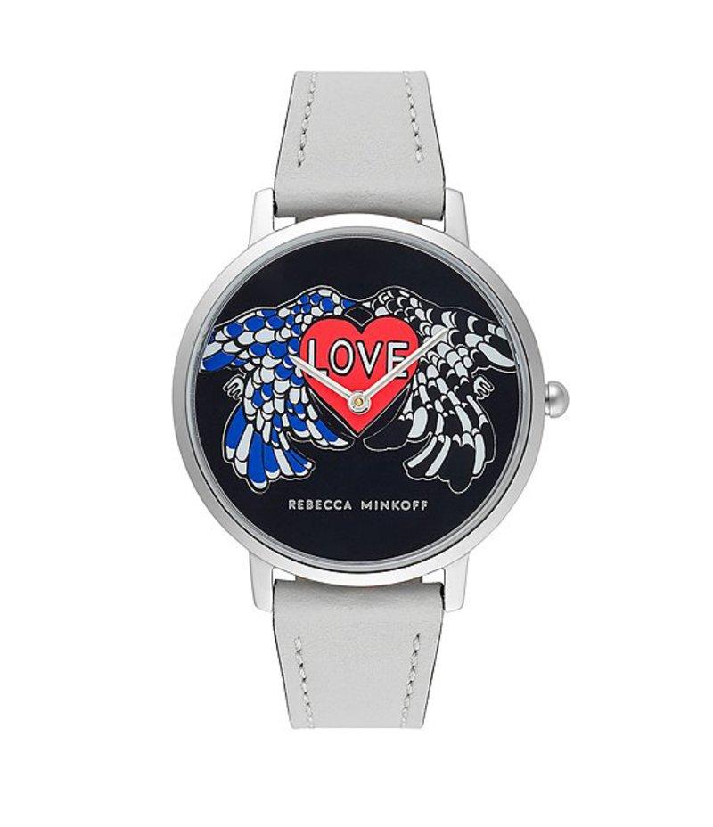レベッカミンコフ レディース 腕時計 アクセサリー Major Silver Tone White Strap Watch Silver