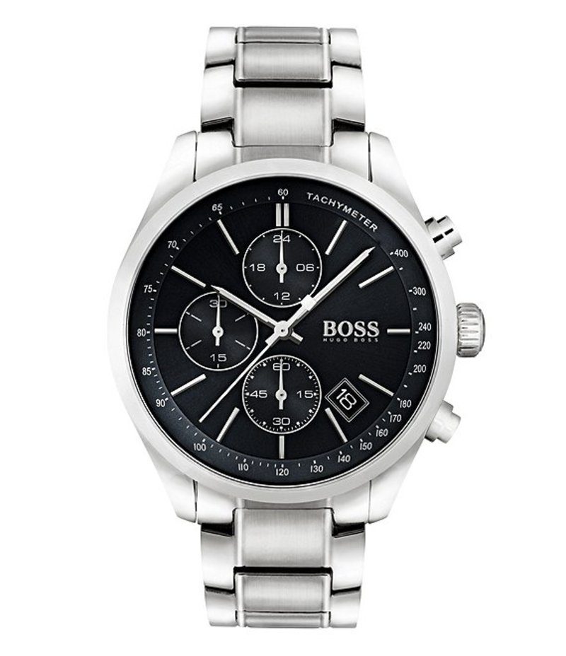 ヒューゴボス メンズ 腕時計 アクセサリー BOSS Hugo Boss Grand Prix Chronograph & Date Bracelet Watch Silver
