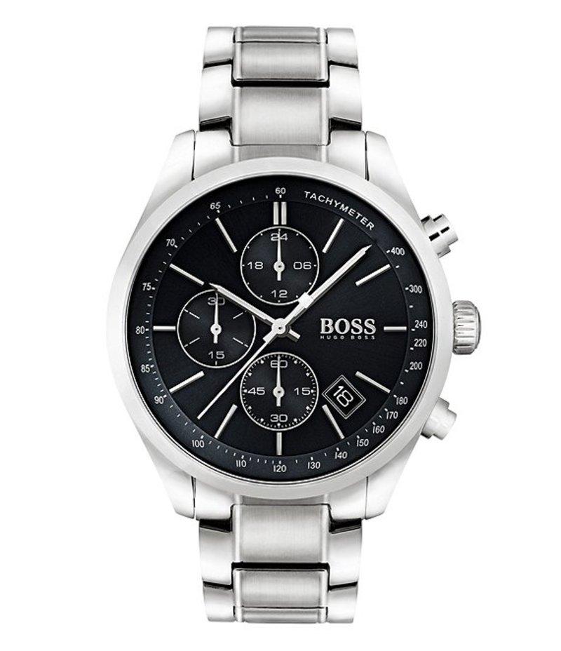 ヒューゴボス メンズ 腕時計 アクセサリー BOSS Hugo Boss Grand Prix Chronograph & Date Bracelet Watch Silver