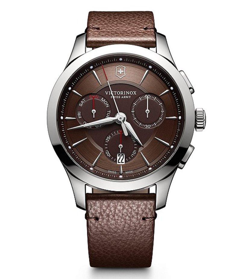 ビクトリノックス メンズ 腕時計 アクセサリー Alliance Chronograph & Date Leather-Strap Watch Brown