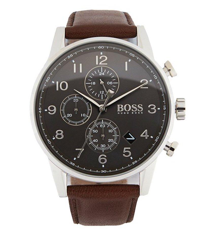 ヒューゴボス メンズ 腕時計 アクセサリー BOSS Hugo Boss Navigator Chronograph & Date Leather-Strap Watch Brown