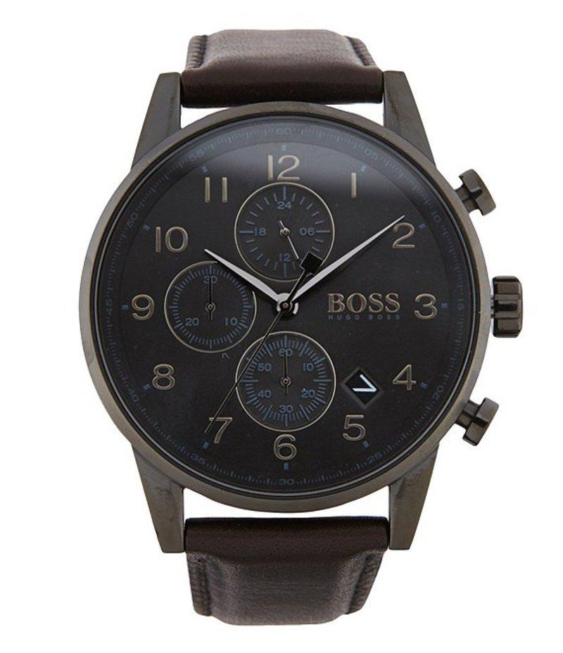 ヒューゴボス メンズ 腕時計 アクセサリー BOSS Hugo Boss Navigator Chronograph & Date Leather-Strap Watch Black