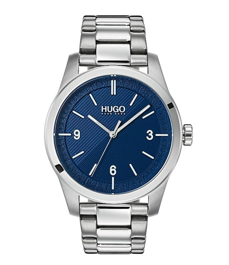ヒューゴボス メンズ 腕時計 アクセサリー HUGO HUGO BOSS #Create Sterling Silver Blue Dial Analog Bracelet Watch Silver