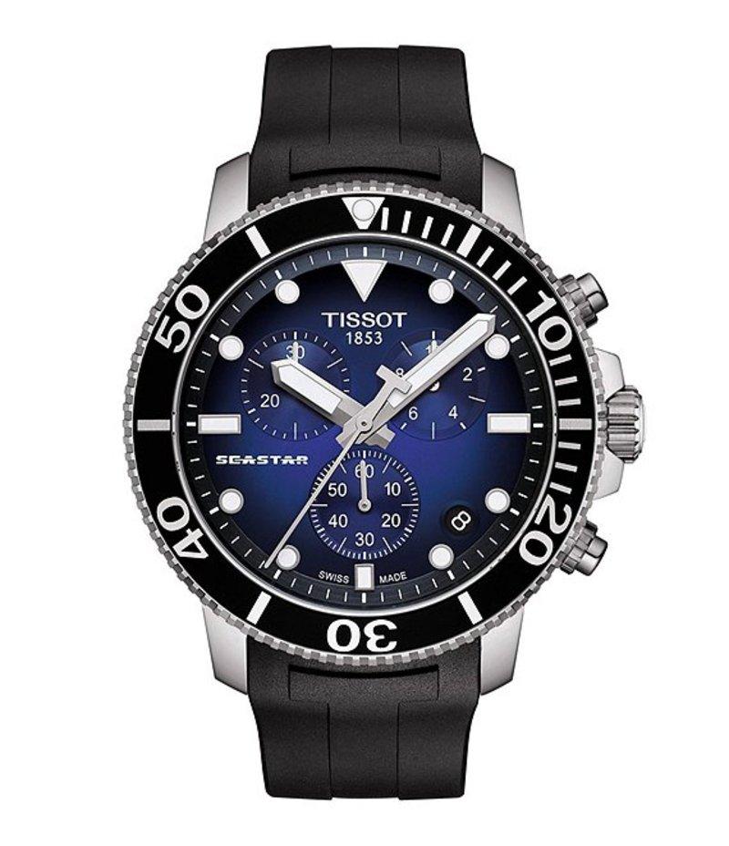 ティソット メンズ 腕時計 アクセサリー Seastar 100 Chronograph Watch Black