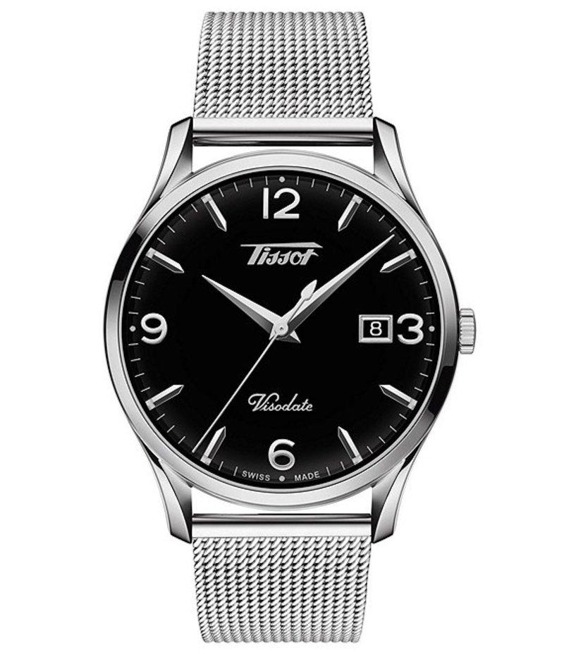 ティソット メンズ 腕時計 アクセサリー Visodate Black Dial Watch Silver