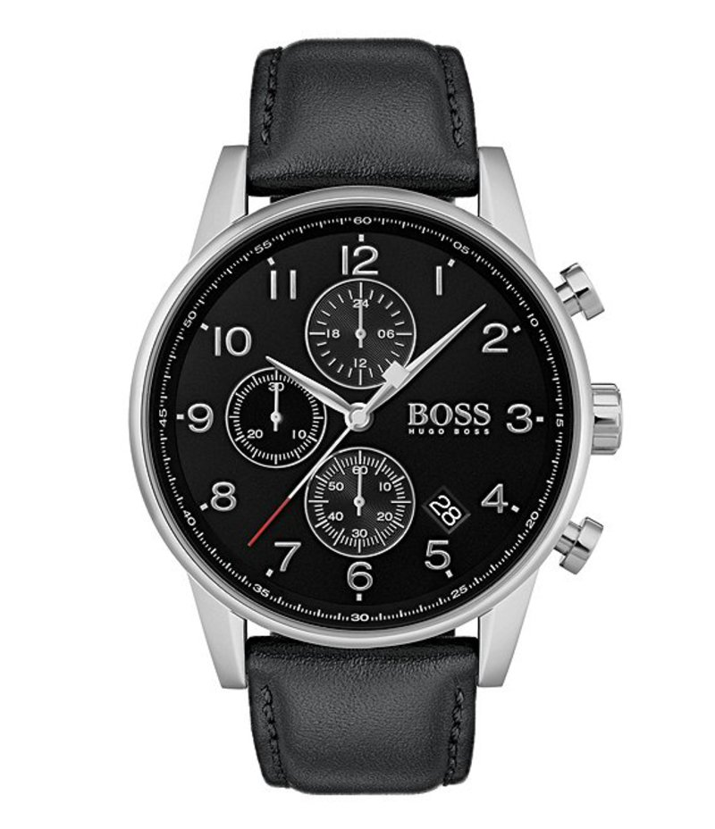 ヒューゴボス メンズ 腕時計 アクセサリー BOSS Hugo Boss Navigator Chronograph Leather Strap Watch Black