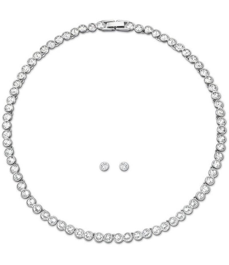 スワロフスキー レディース ピアス・イヤリング アクセサリー Tennis Necklace and Earrings Set Rhodium White