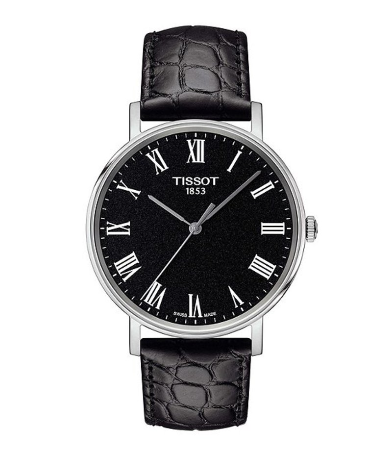 ティソット メンズ 腕時計 アクセサリー Everytime Men's Black Dial Leather Strap Watch Black