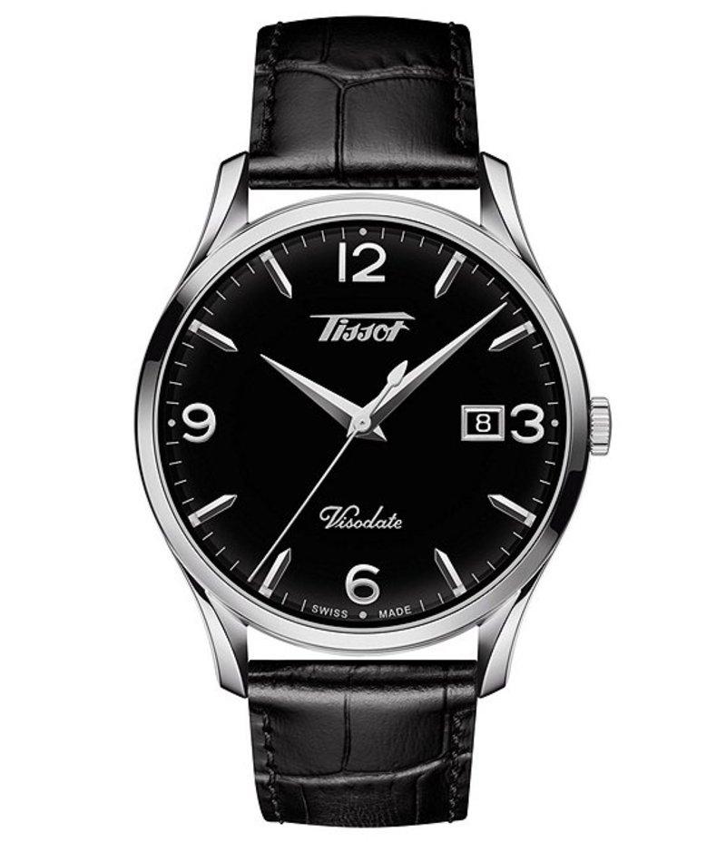 ティソット メンズ 腕時計 アクセサリー Visodate Black Dial Watch Black