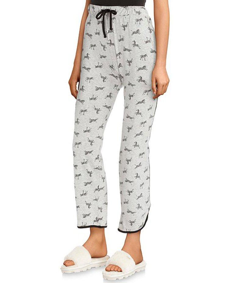 スリープ センス レディース カジュアルパンツ ボトムス Zebra Print Knit Sleep Pants Light Grey Heather