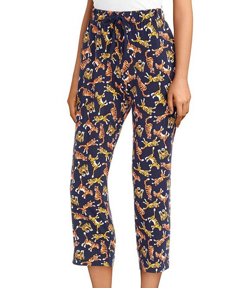 スリープ センス レディース カジュアルパンツ ボトムス Tiger Print Cropped Knit Sleep Pants Peacoat