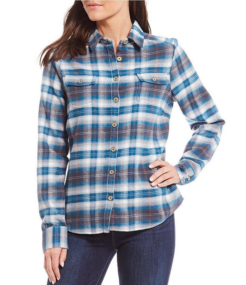 アベンチュラ レディース シャツ トップス Amery Long Sleeve Button Front Double Front Pocket Plaid Shirt Lyons Blue