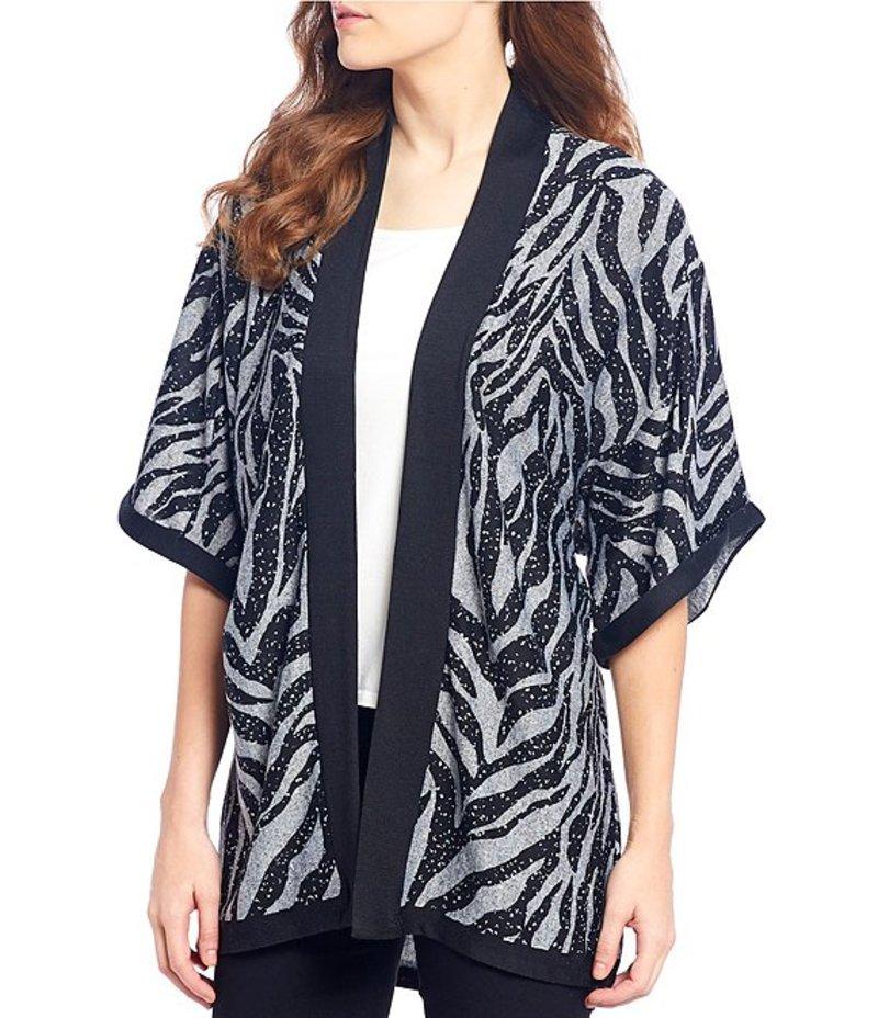 ボベー レディース カーディガン アウター Zebra Print Kimono Sleeve Open Front Knit Cardigan Black Heather Grey Zebra