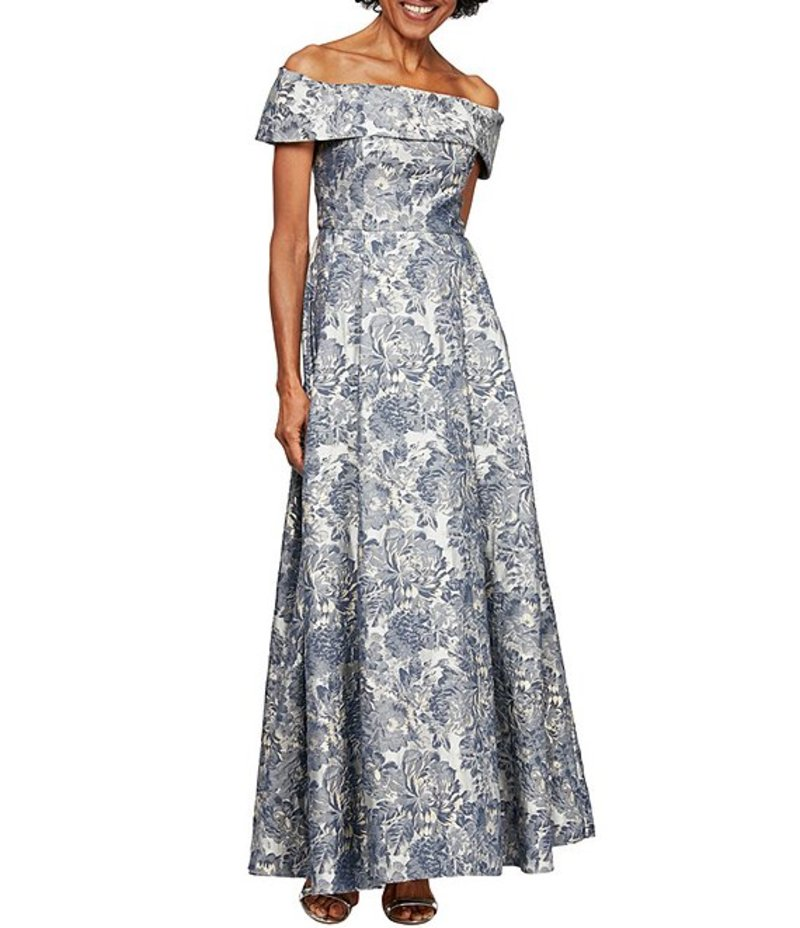 アレックスイブニングス レディース ワンピース トップス Jacquard Cap Sleeve Off-the-Shoulder Floral Print Pocket Ballgown Silver Multi