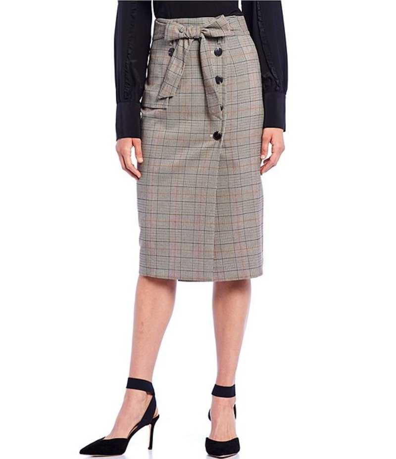 アントニオ メラーニ レディース スカート ボトムス Tricia Plaid Belted Side Button Detail Pencil Skirt Vanilla/Caramel