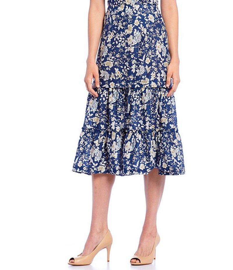 アントニオ メラーニ レディース スカート ボトムス Ruby Ceremony Floral Print Tiered Cotton Midi Skirt Ceremony