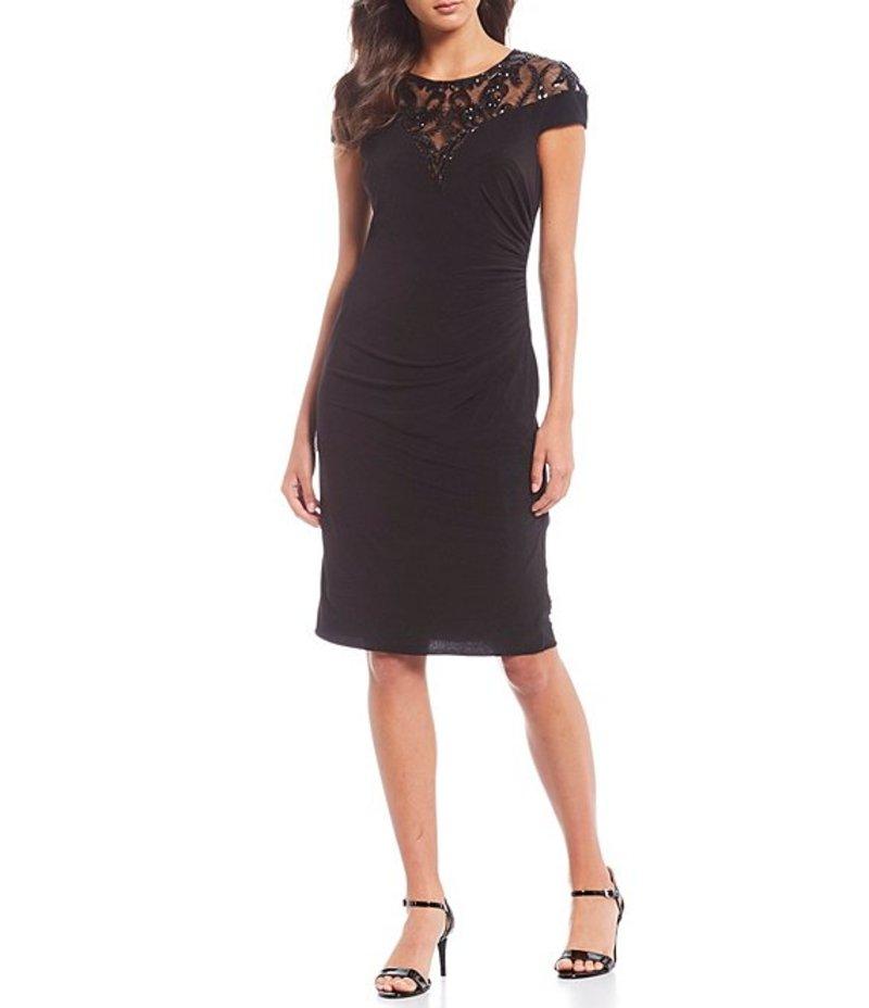 アドリアナ パペル レディース ワンピース トップス Sequin Ruched Waist Detail Jersey Stretch Sheath Dress Black