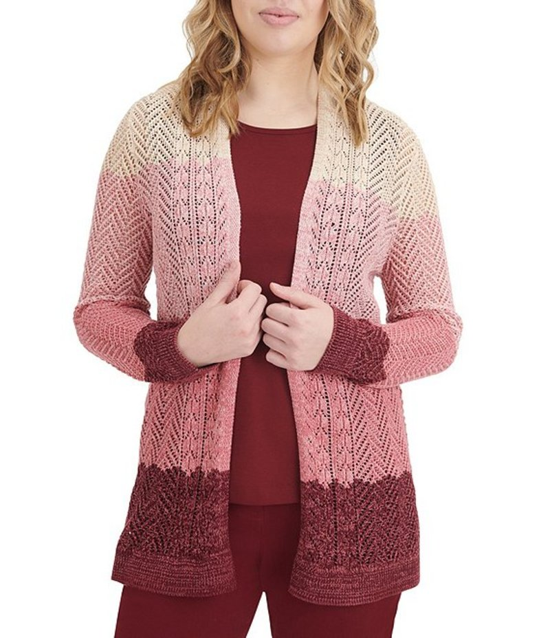 アリソン デイリー レディース カーディガン アウター Colorblock Ombre Open Front Pointelle Cotton Blend Cardigan Soft Pink
