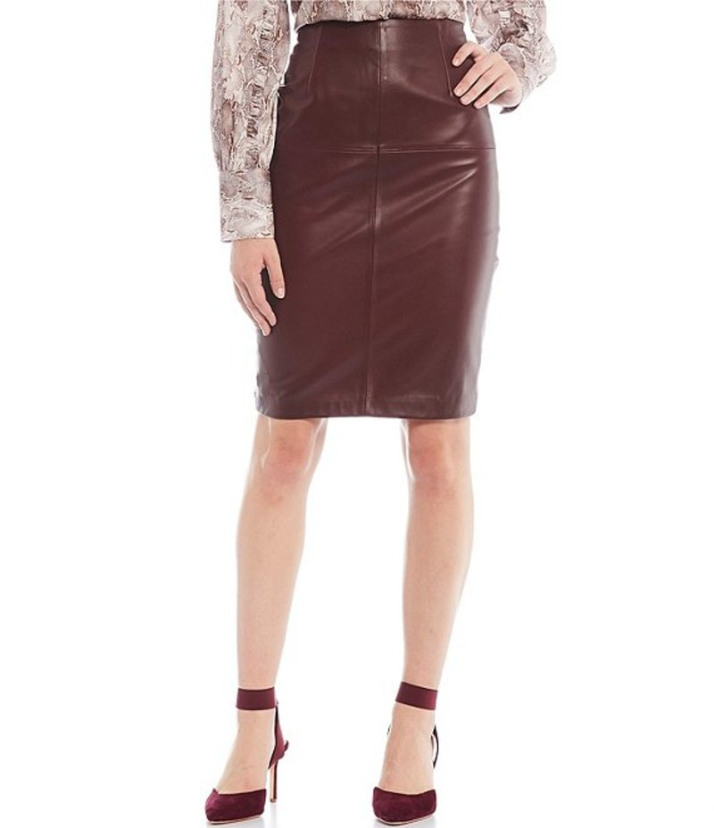 アントニオ メラーニ レディース スカート ボトムス LUXURY COLLECTION Genuine Leather Caroline Pencil Skirt Port