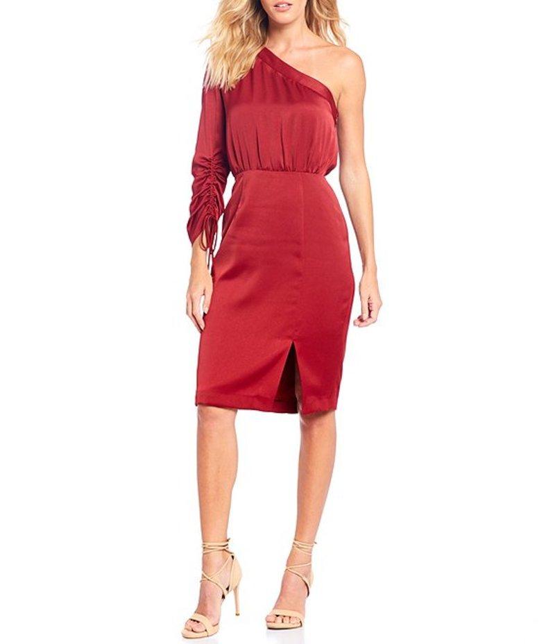 ジャンビニ レディース ワンピース トップス Stephanie One Shoulder Ruched Sleeve Front Slit Sateen Dress Wine