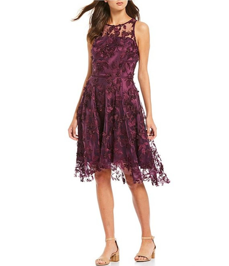 アレックスマリー レディース ワンピース トップス Madison 3D Floral Embroidered Mesh Sleeveless A-Line Dress Plum
