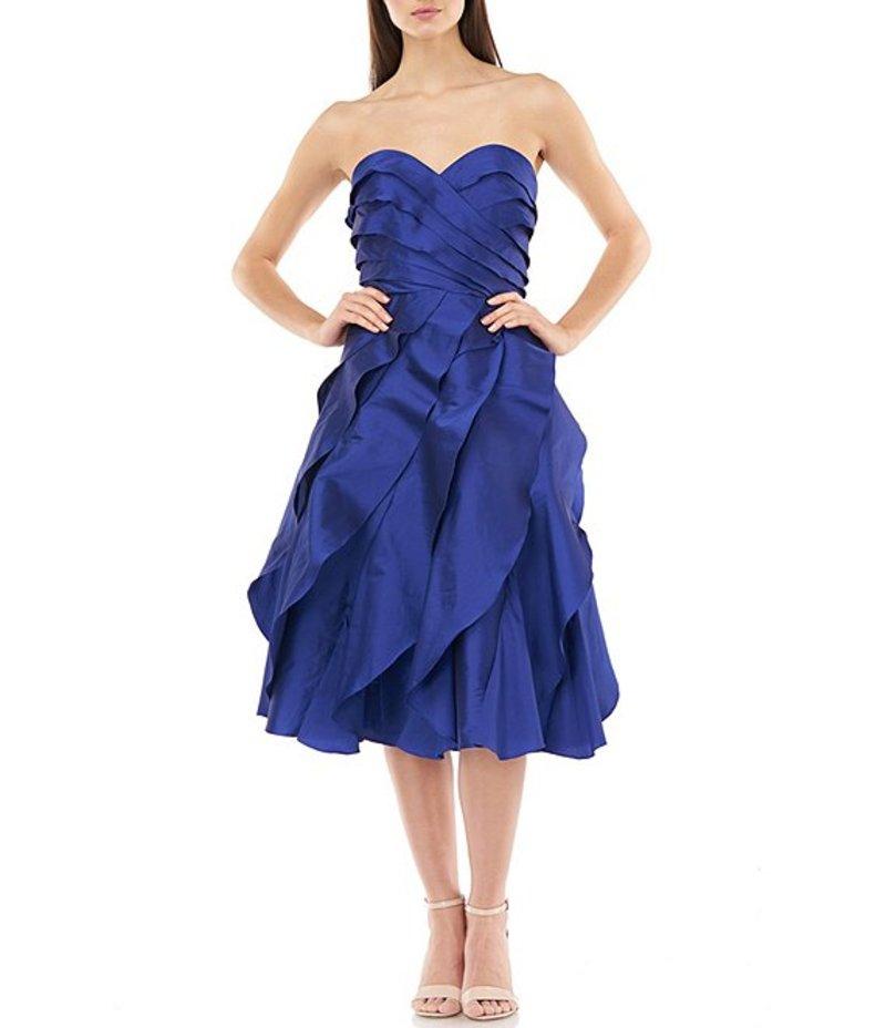 カルメンマークヴァルヴォ レディース ワンピース トップス Textured Ruffle Sweetheart Taffeta A-Line Dress Cobalt