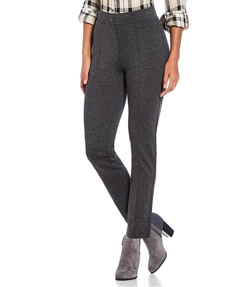 イントロ レディース デニムパンツ ボトムス Petite Size Bella Solid Double Knit Slim Her Straight Leg Pants Charcoal