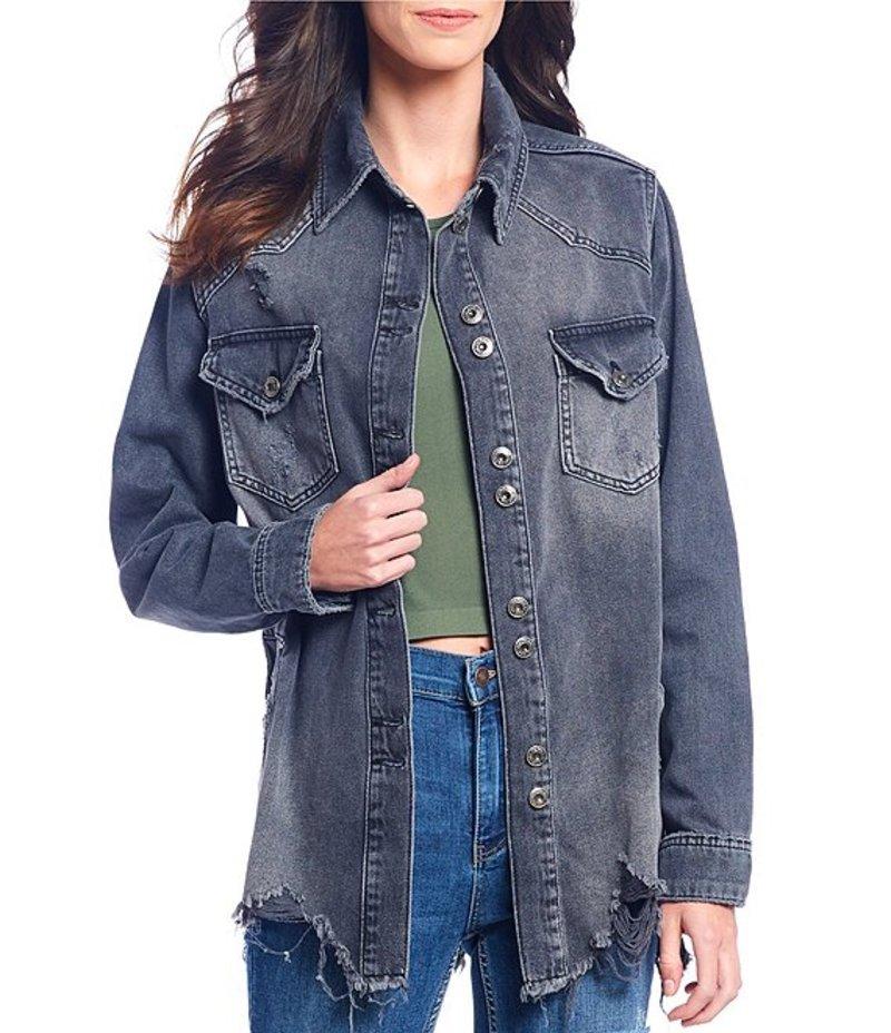 フリーピープル レディース デニムパンツ ボトムス Moonchild Distressed Denim Shirt Jacket Black