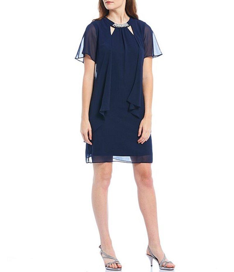 イグナイト レディース ワンピース トップス Chiffon Short Sleeve Cut Out Pearl Neck Dress New Navy