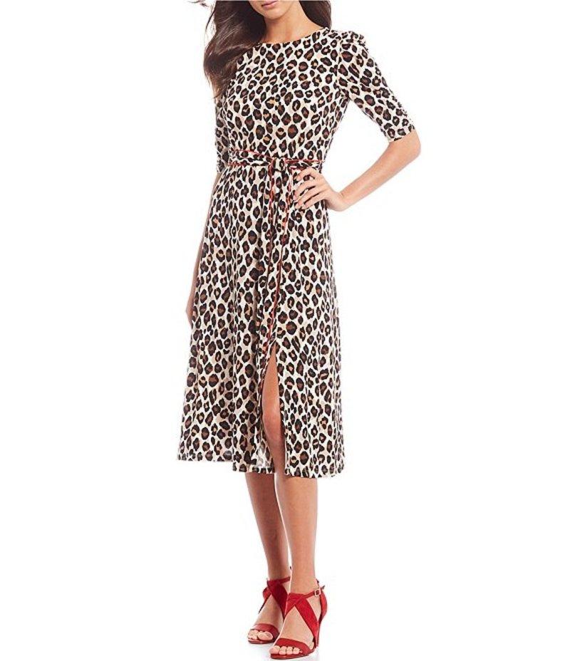エリザジェイ レディース ワンピース トップス Leopard Printed Self Tie Front Slit Midi A-Line Dress Animal