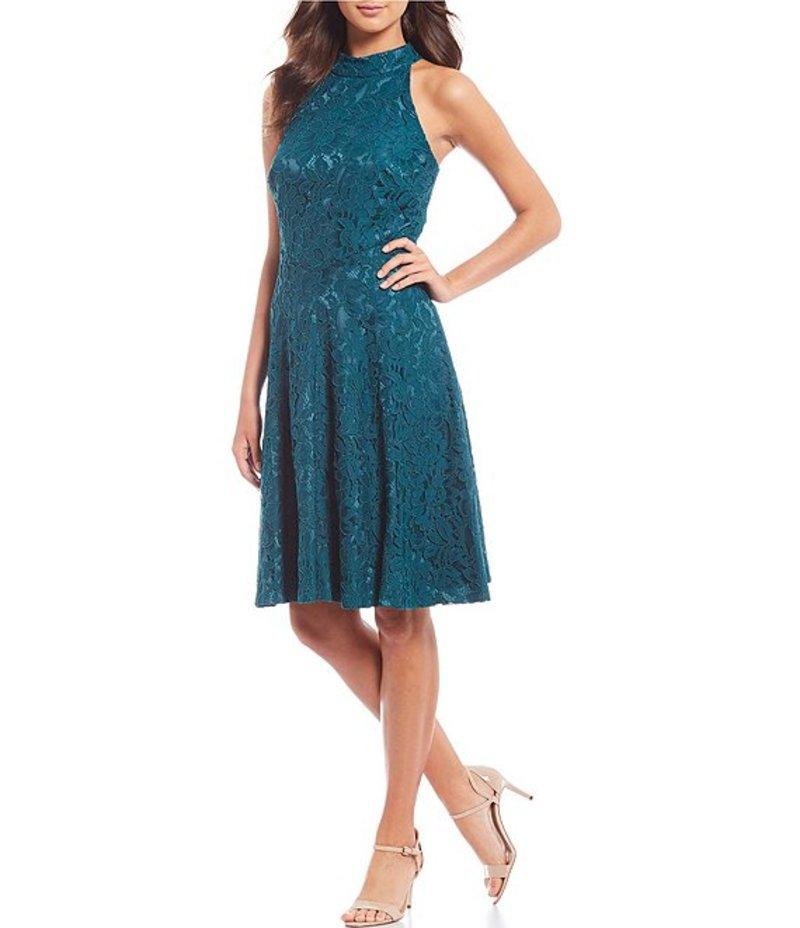 エリザジェイ レディース ワンピース トップス Halter Neck Sleeveless Lace A-Line Dress Teal