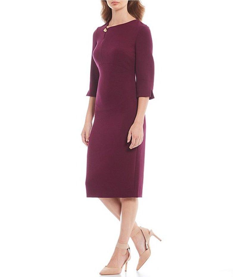 ダナキャラン レディース ワンピース トップス Asymmetrical Neck Stretch 3/4 Split Sleeve Sheath Dress Mulberry